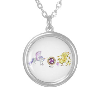 coven symbol spiral essence unicorn griffon silver plated necklace