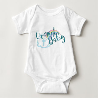 """""""Covenant Baby"""" Jersey Bodysuit (White/Teal)"""