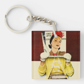 Cover Girl Double-Sided Square Acrylic Keychain