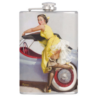 Cover up retro pinup girl flasks