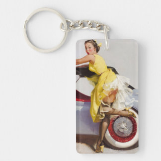 Cover up retro pinup girl keychain