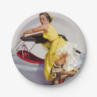 Cover up retro pinup girl paper plate