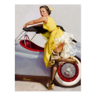 Cover up retro pinup girl postcard