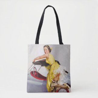Cover up retro pinup girl tote bag