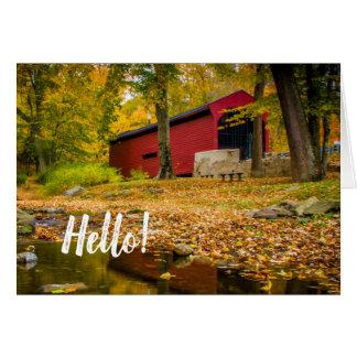 Covered Bridge Bartrams Pennsylvania Hello Note Card