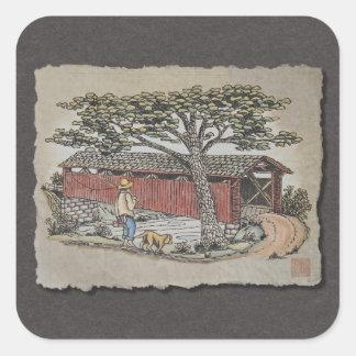 Covered Bridge & Boy Square Sticker
