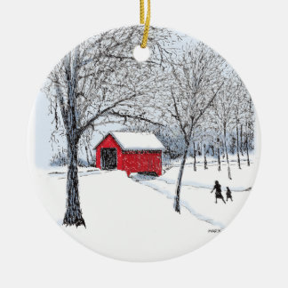 Covered Bridge Ceramic Ornament