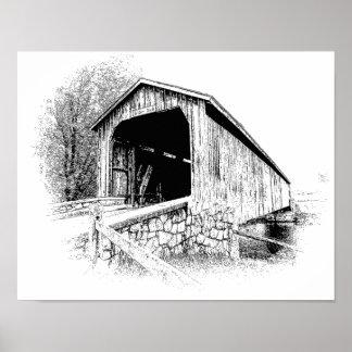 Covered Bridge Digital Pen and Ink -- Art Print