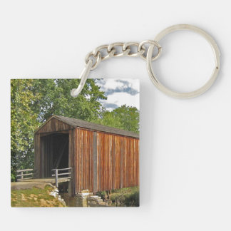 Covered Bridge Double-Sided Square Acrylic Keychain