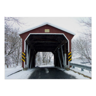 Covered Bridge in Snow Poster