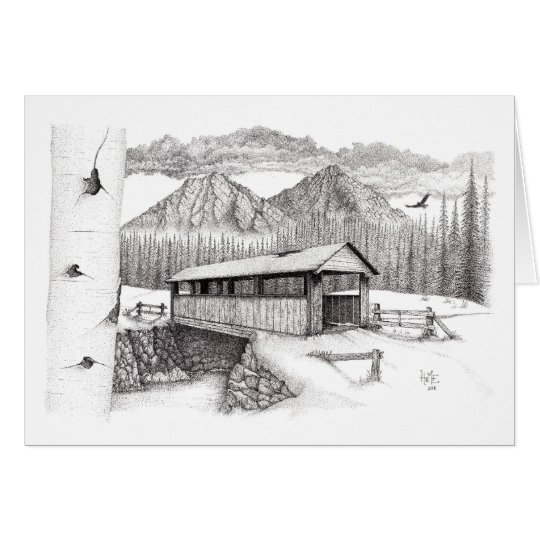 Covered Bridge in the Snow Card