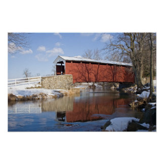Covered Bridge in Winter Poster