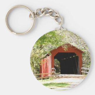 Covered Bridge Basic Round Button Keychain