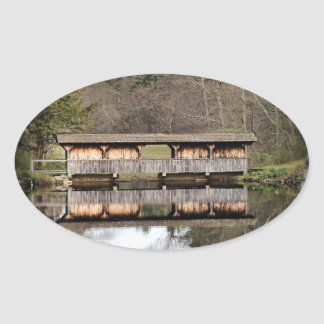 Covered Bridge Oval Sticker