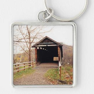 Covered Bridge Silver-Colored Square Keychain