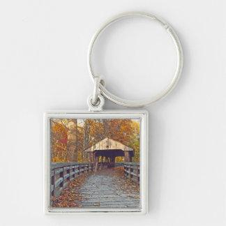"""COVERED BRIDGE WILDWOOD METRO PARK, TOLEDO,OHIO"" Silver-Colored SQUARE KEYCHAIN"