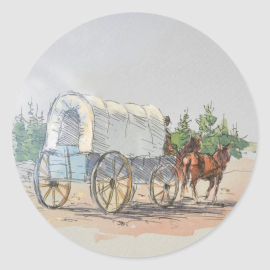 COVERED WAGON by SHARON SHARPE Classic Round Sticker