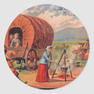 Covered Wagon Classic Round Sticker