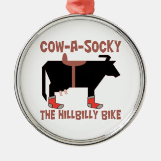 Cow-A-Socky The HillBilly Bike Metal Ornament