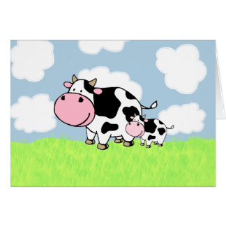 Cow and Baby Greeting Card