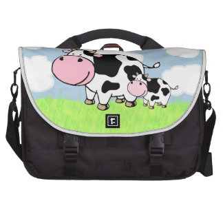 Cow and Baby Laptop Shoulder Bag