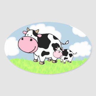 Cow and Baby Oval Sticker