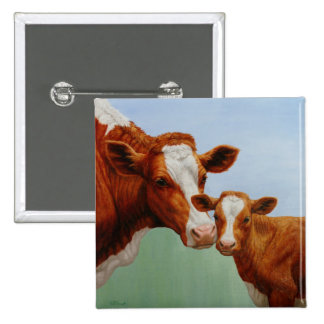 Cow and Calf Pinback Button