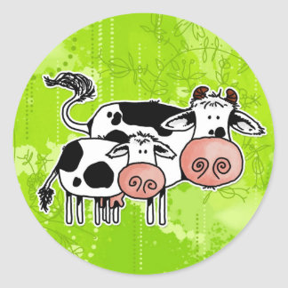 cow and calf classic round sticker