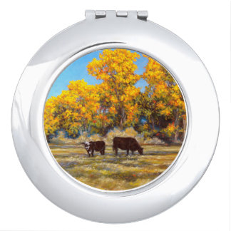 Cow and Calf in Golden Fall Trees Compact Mirror