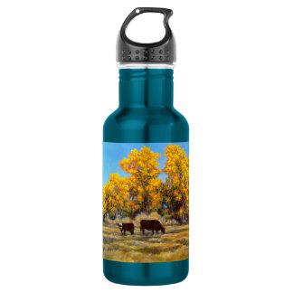 Cow and Calf in Golden Fall Trees Water Bottle