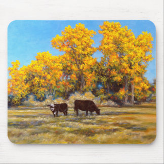 Cow and Calf in Golden Yellow Fall Trees Mousepad