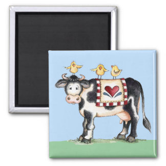 Cow and Chicks Square Magnet