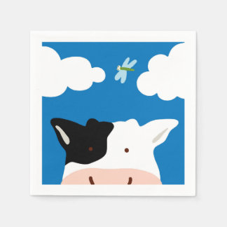 Cow and Dragonfly Paper Napkins