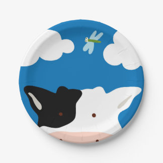 Cow and Dragonfly Paper Plate