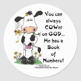 Cow and Ladybug COWnt on God Classic Round Sticker