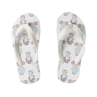 Cow and Sheep Pattern Kid's Flip Flops