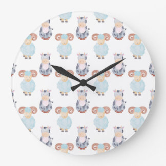 Cow and Sheep Pattern Large Clock