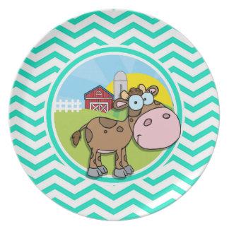Cow Aqua Green Chevron Party Plate