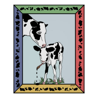 Cow Artist Pastel Poster