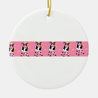 Cow Banner Ceramic Ornament
