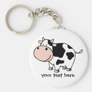 Cow Basic Round Button Keychain
