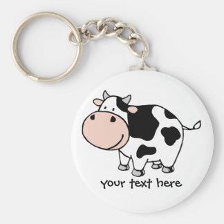 Cow Basic Round Button Keychain