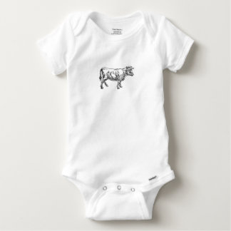 Cow Beef Food Grunge Style Hand Drawn Icon Baby Onesie