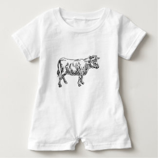 Cow Beef Food Grunge Style Hand Drawn Icon Baby Romper