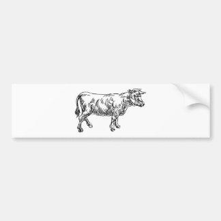 Cow Beef Food Grunge Style Hand Drawn Icon Bumper Sticker