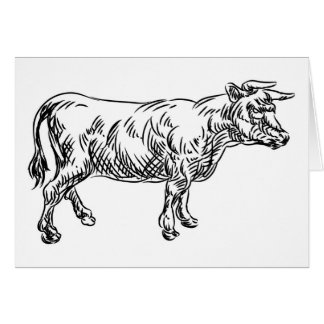 Cow Beef Food Grunge Style Hand Drawn Icon Card