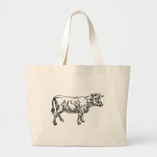 Cow Beef Food Grunge Style Hand Drawn Icon Large Tote Bag
