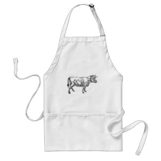 Cow Beef Food Grunge Style Hand Drawn Icon Standard Apron