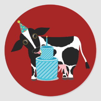 Cow Birthday Stickers Funny