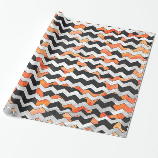 Cow Black and Orange Chevron Print Wrapping Paper